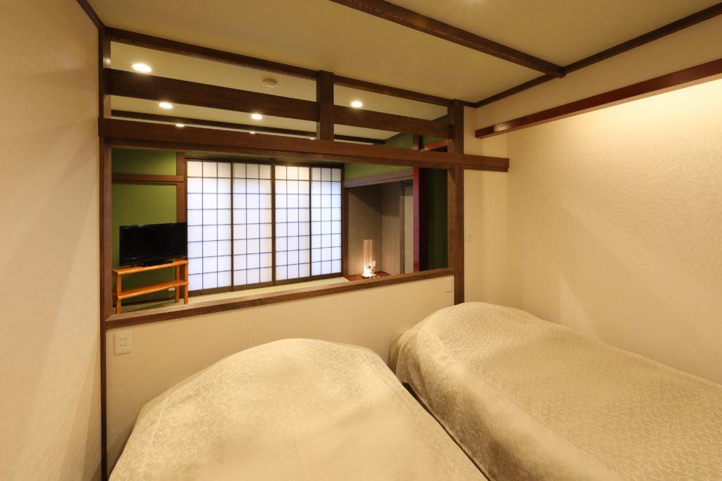 くれ竹のベッドルーム